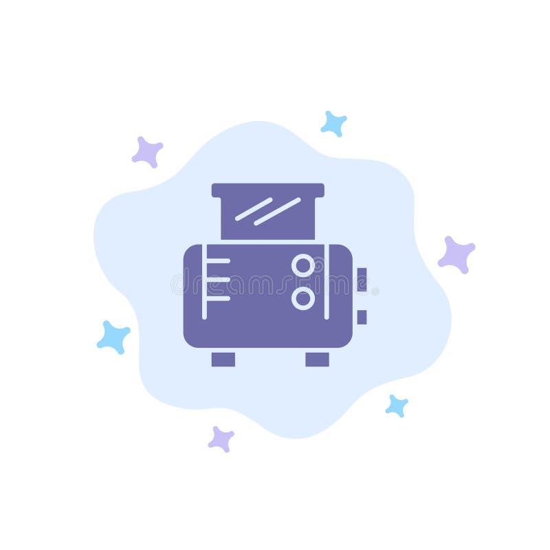 Grillez, grillez la machine, icône bleue de grille-pain sur le fond abstrait de nuage illustration de vecteur
