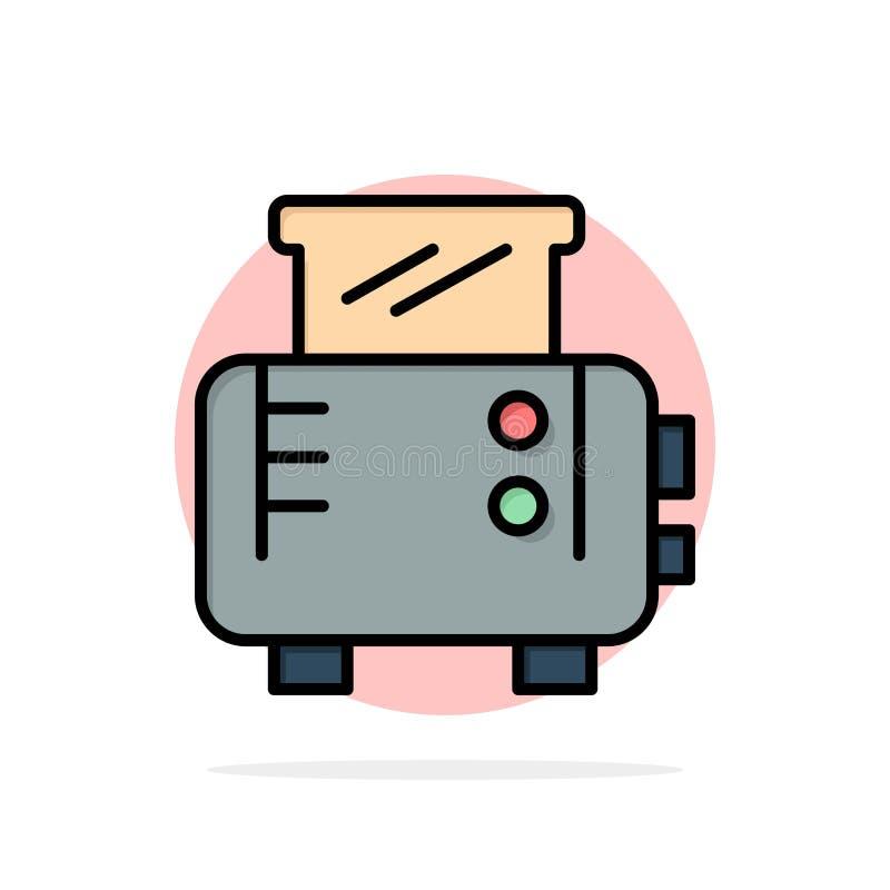 Grillez, grillez la machine, icône plate de couleur de fond de cercle d'abrégé sur grille-pain illustration stock