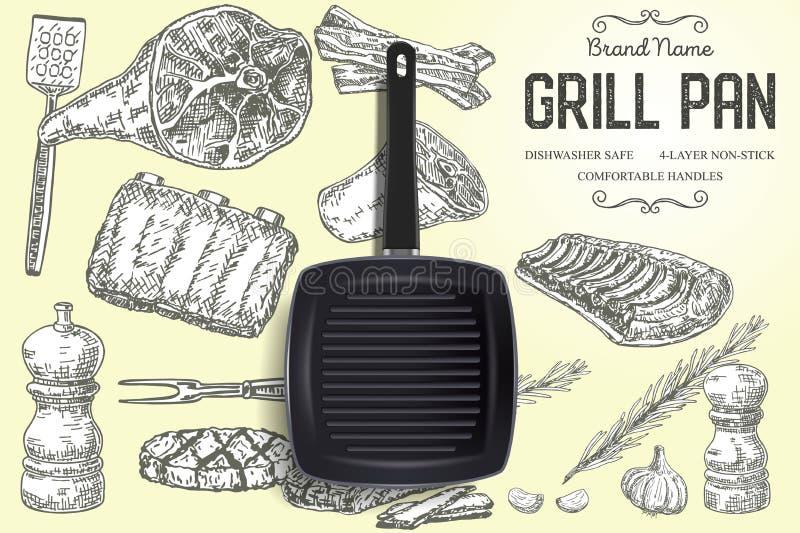Grillez le calibre de bannière d'affiche de vecteur d'annonces de marque de casserole illustration de vecteur