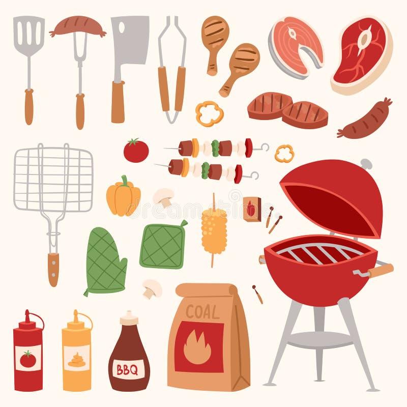 Grillez tout entier à la maison ou BBQ rarty de produits de dîner de restaurant grillant l'illustration plate de vecteur d'équipe illustration stock
