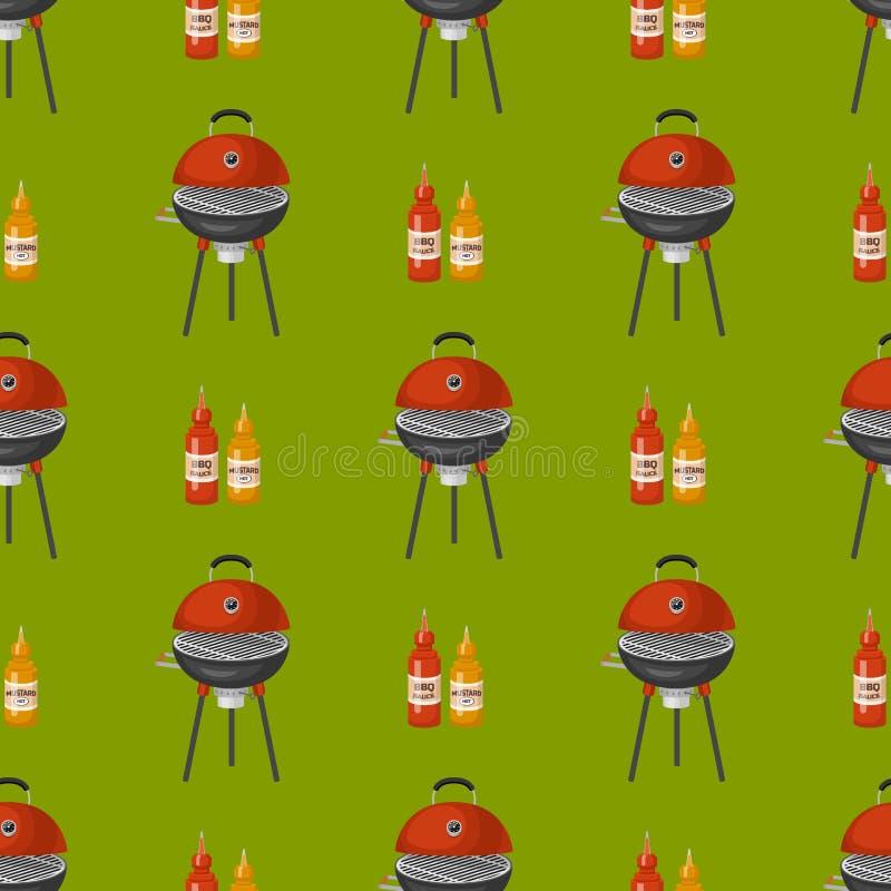 Grillez tout entier le BBQ rarty de dîner de modèle de restaurant sans couture à la maison de fond grillant l'appartement de vect illustration de vecteur