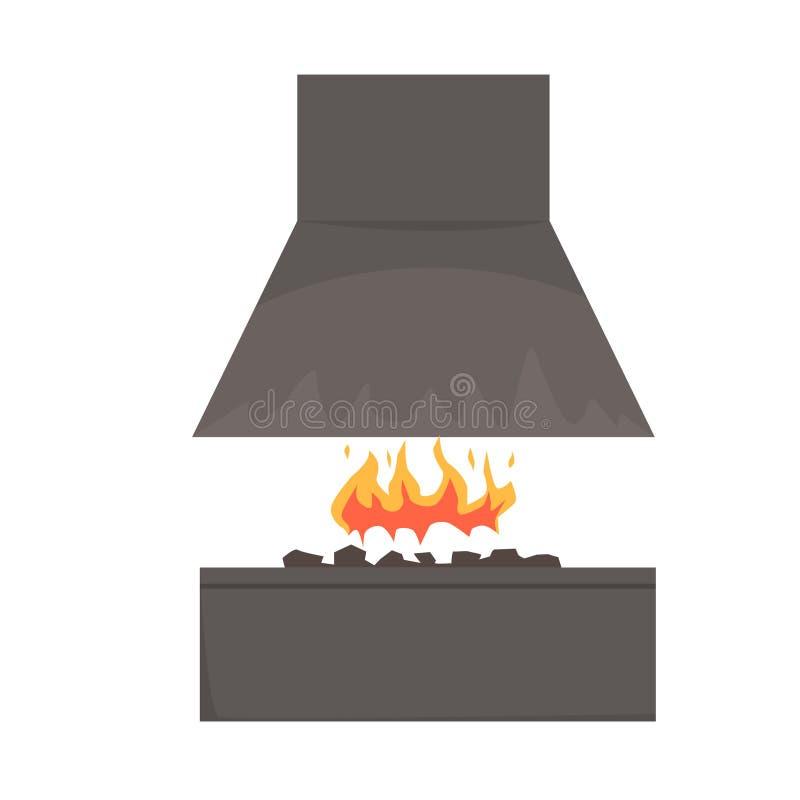 Grillez tout entier le fumeur avec le feu, gril de barbecue, illustration de vecteur de BBQ illustration de vecteur