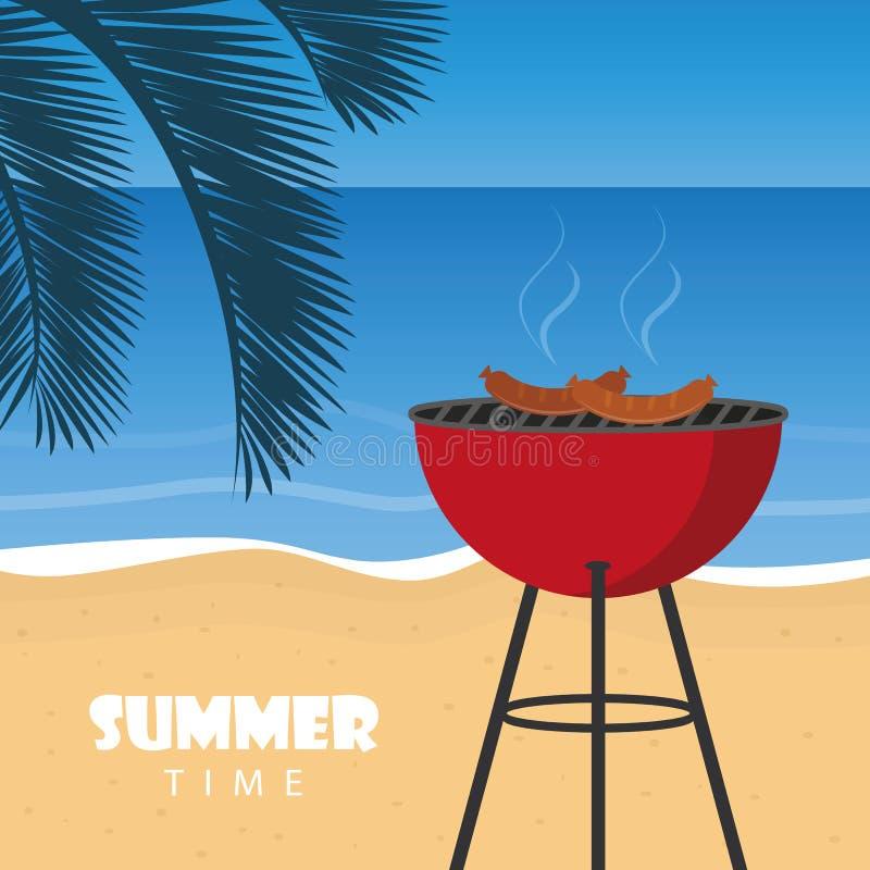 Grillfest f?r sommartid p? stranden med palmbladet stock illustrationer