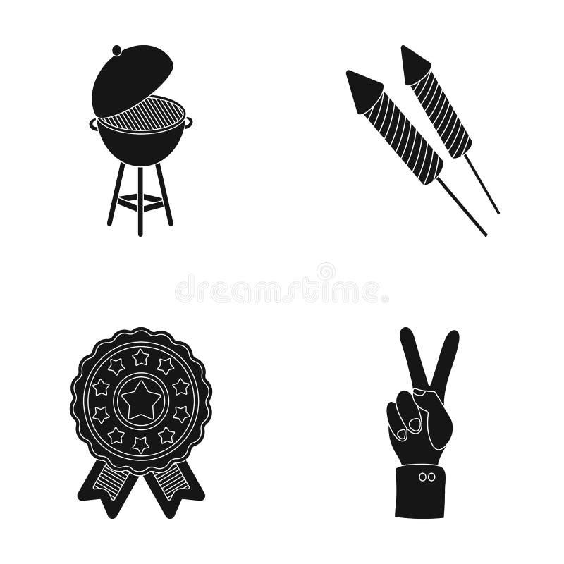 Grillfest honnör som röstar ebblema, seger Symbolerna för samling för uppsättning för dag för patriot` s i svart materiel för sti stock illustrationer