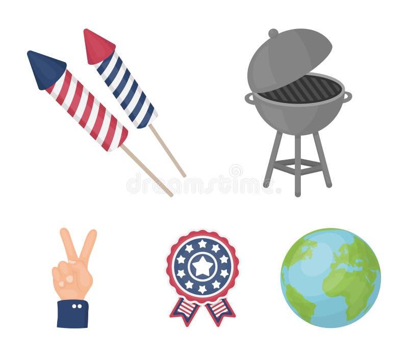 Grillfest honnör som röstar ebblema, seger Symbolerna för samling för uppsättning för dag för patriot` s i materiel för symbol fö stock illustrationer