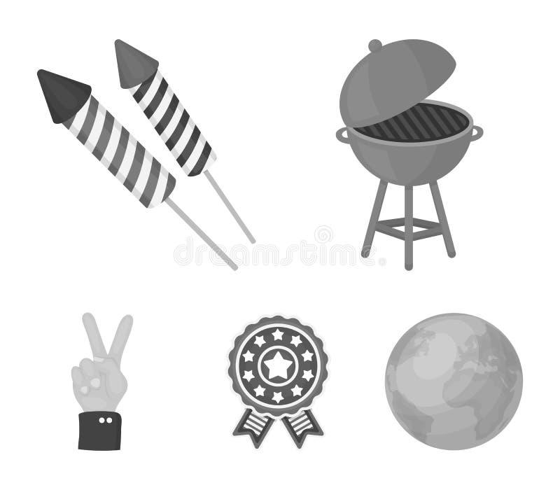 Grillfest honnör som röstar ebblema, seger Symbolerna för samling för uppsättning för dag för patriot` s i monokromt stilvektorsy stock illustrationer