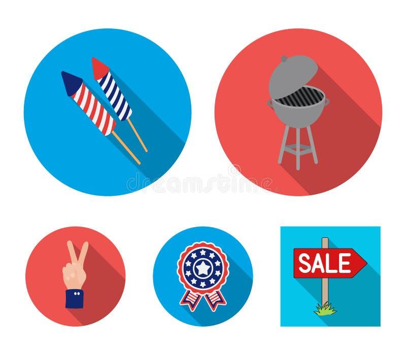 Grillfest honnör som röstar ebblema, seger Symbolerna för samling för uppsättning för dag för patriot` s i plant materiel för sti stock illustrationer