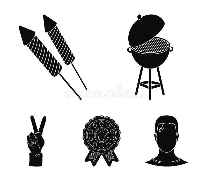 Grillfest honnör som röstar ebblema, seger Symbolerna för samling för uppsättning för dag för patriot` s i svart materiel för sti vektor illustrationer