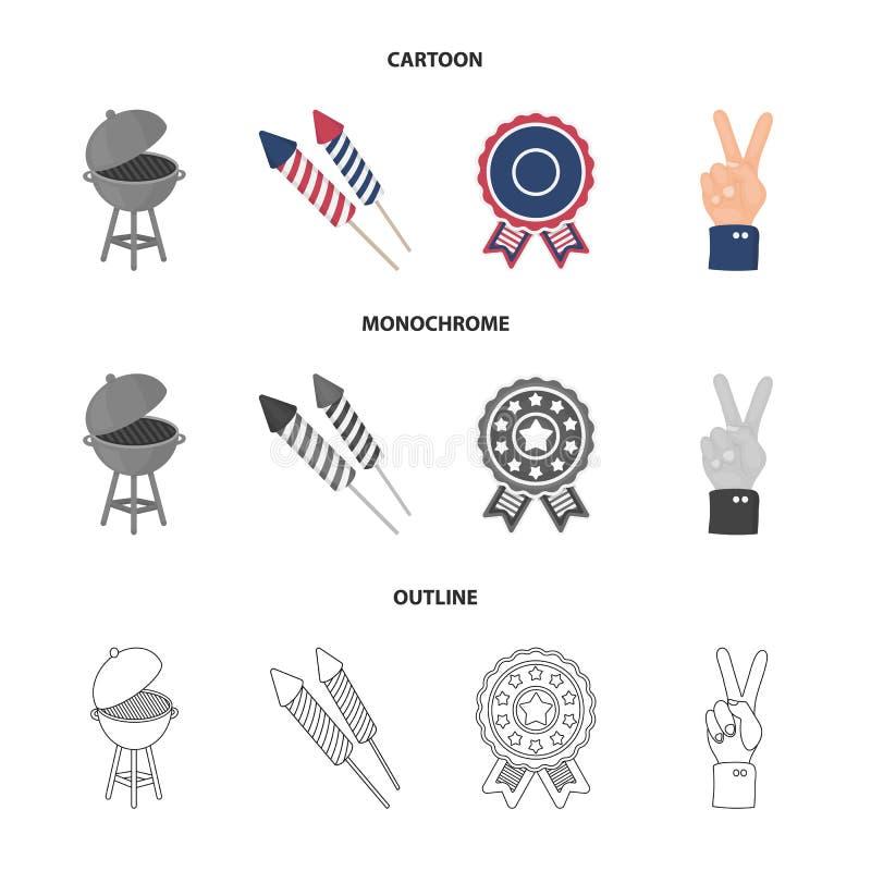 Grillfest honnör som röstar ebblema, seger Symbolerna för samling för uppsättning för dag för patriot` s i tecknade filmen, övers vektor illustrationer