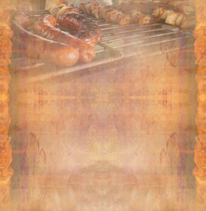 Grillfest med läckert grillat kött, abstrakt tappningram stock illustrationer
