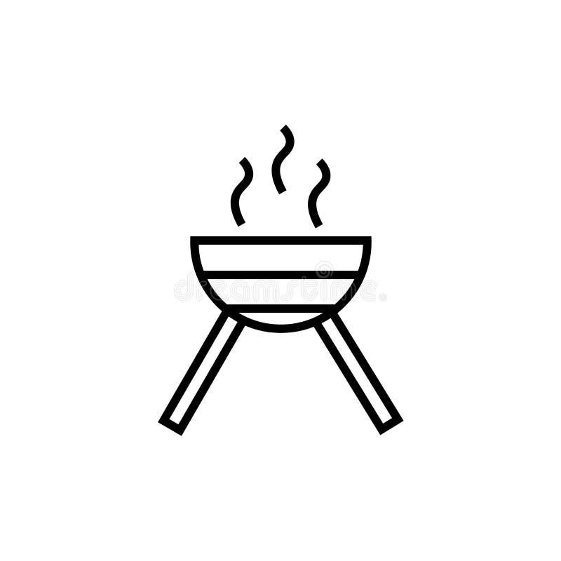 Grillfest med tecknet och symbol för hjulsymbolsvektor som isoleras på vit bakgrund, grillfest med hjullogobegrepp stock illustrationer