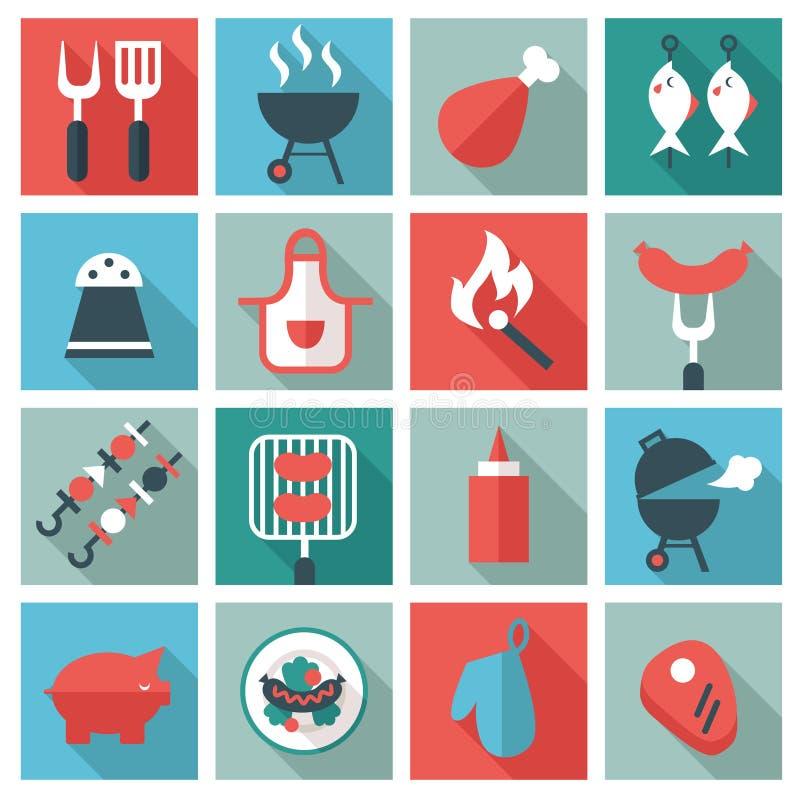 Grillfest- och gallersymbolsuppsättning royaltyfri illustrationer