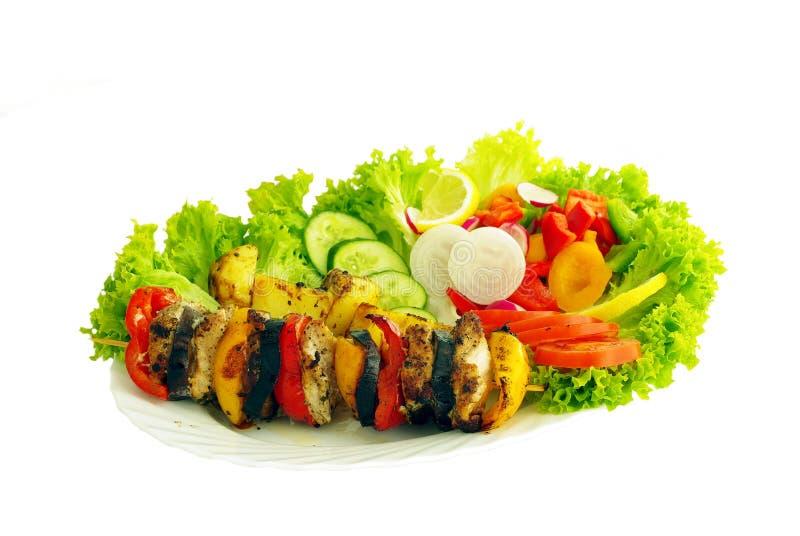 Grillfest och grönsak royaltyfria foton
