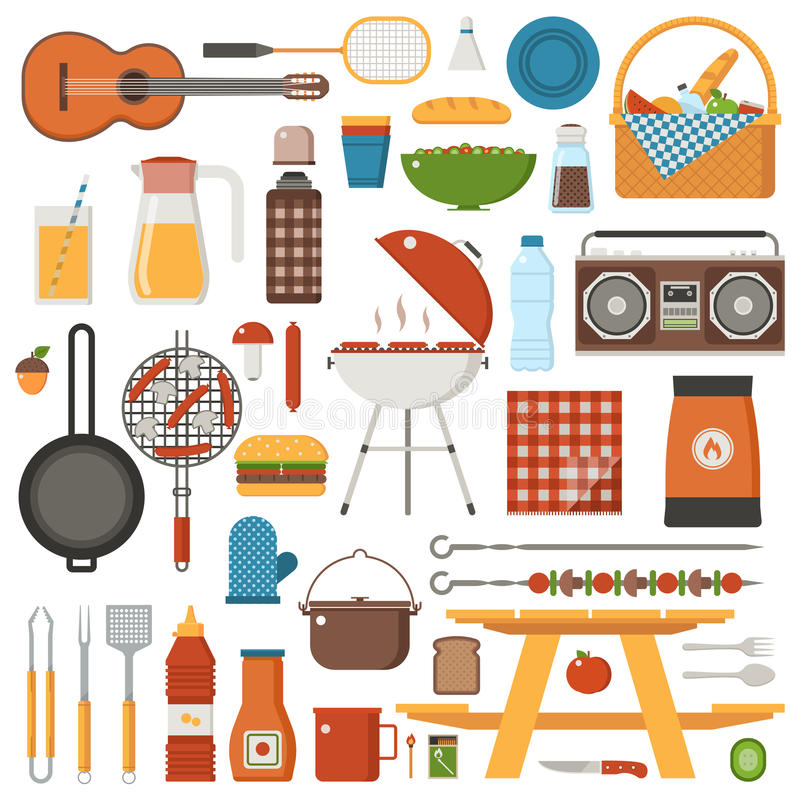 Grillfest- och picknickuppsättning royaltyfri illustrationer