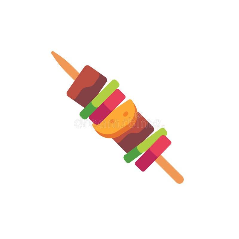 Grillfest på en träpinne Plan symbol f?r snabbmat stock illustrationer