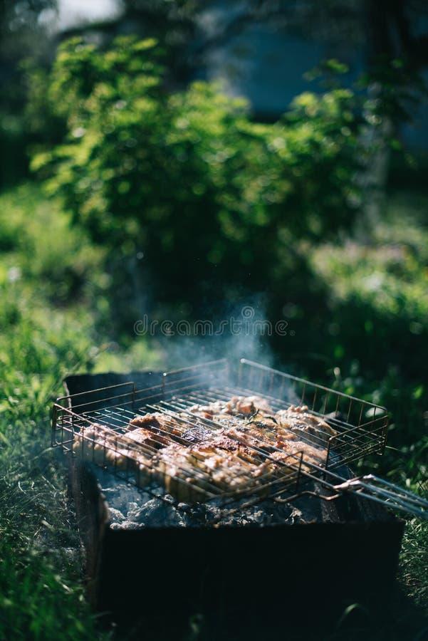 Grillfest p? en sommardag i tr?dg?rden Utomhus- rekreationbegrepp f?r picknick arkivbilder