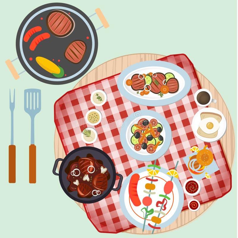 Grillfestdag i bästa sikt stock illustrationer