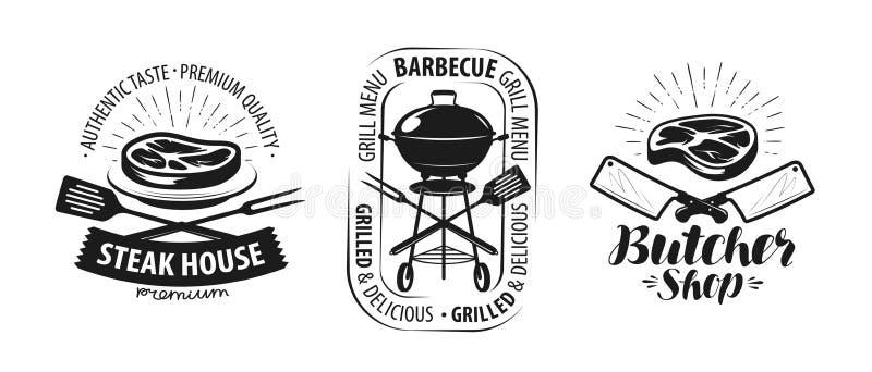 Grillfesten gallret, slaktare shoppar logo eller etiketten Matbegreppsvektor royaltyfri illustrationer