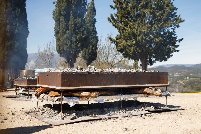 Grillfesten grillade kött, kött på kol, grillade griskött royaltyfria bilder