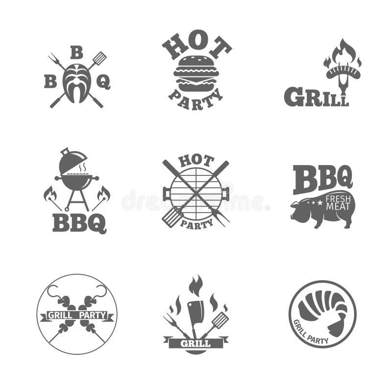 Grillfestetiketter eller logoer stock illustrationer