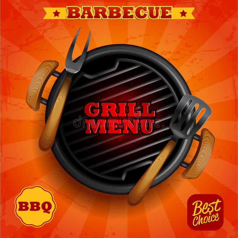Grillfestgallermeny royaltyfri illustrationer