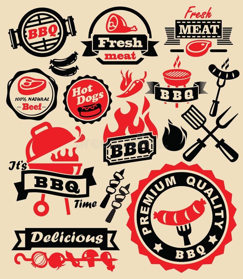 Grillfestgallerparti stock illustrationer