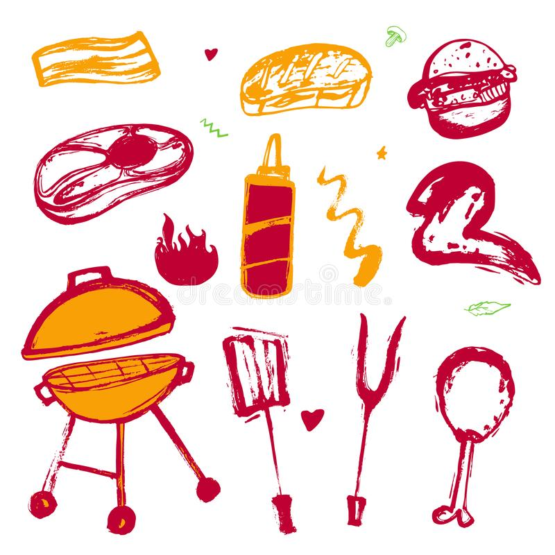 Grillfestgrungeuppsättning för ditt parti med den hand drog gallersymboler och ramen Bakgrund för BBQ-tappningrestaurang royaltyfri illustrationer