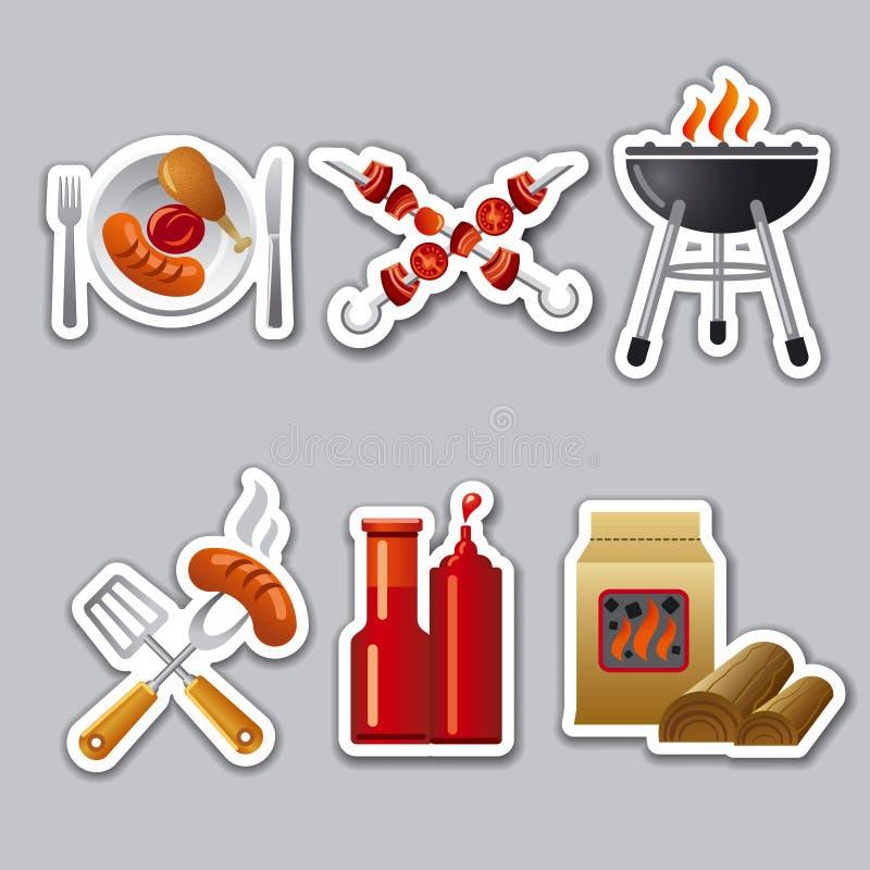 Grillfestklistermärkear royaltyfri illustrationer