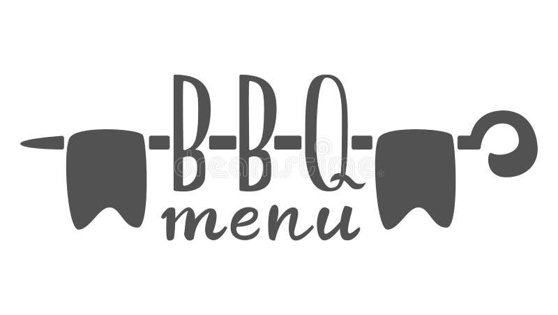 Grillfestmenyetikett, logo och emblemvektormallar som isoleras på vit bakgrund Beståndsdel för design för stekhusrestaurangmeny vektor illustrationer