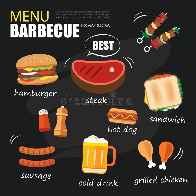 Grillfestmenyparti Design för meny för BBQ-inbjudanmall royaltyfri illustrationer