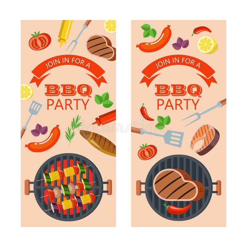 Grillfestparti fisk grillade grönsaker också vektor för coreldrawillustration royaltyfri illustrationer