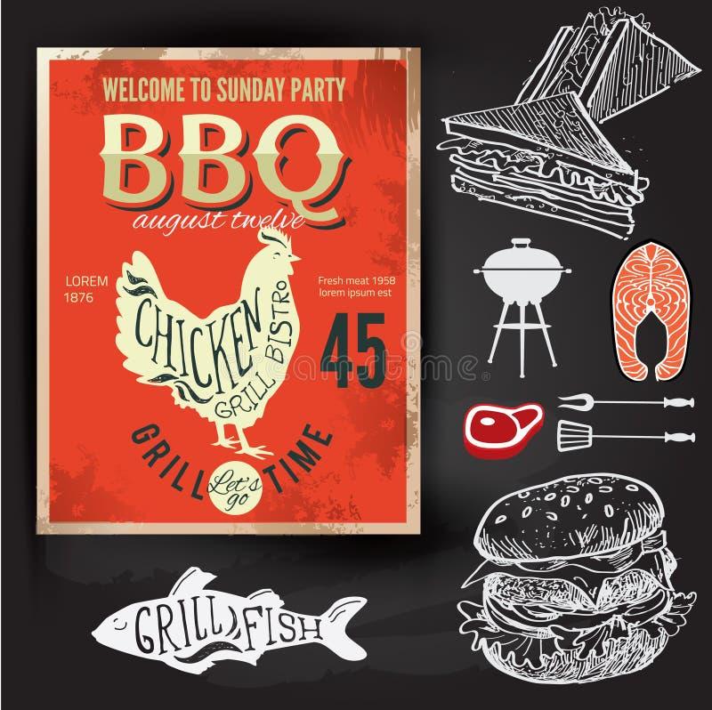 Grillfestpartiinbjudan Design för BBQ-broschyrmeny stock illustrationer