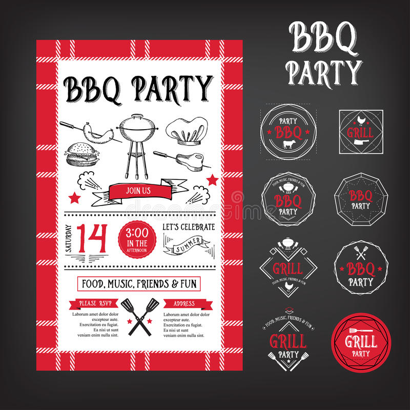 Grillfestpartiinbjudan Design för BBQ-mallmeny stock illustrationer