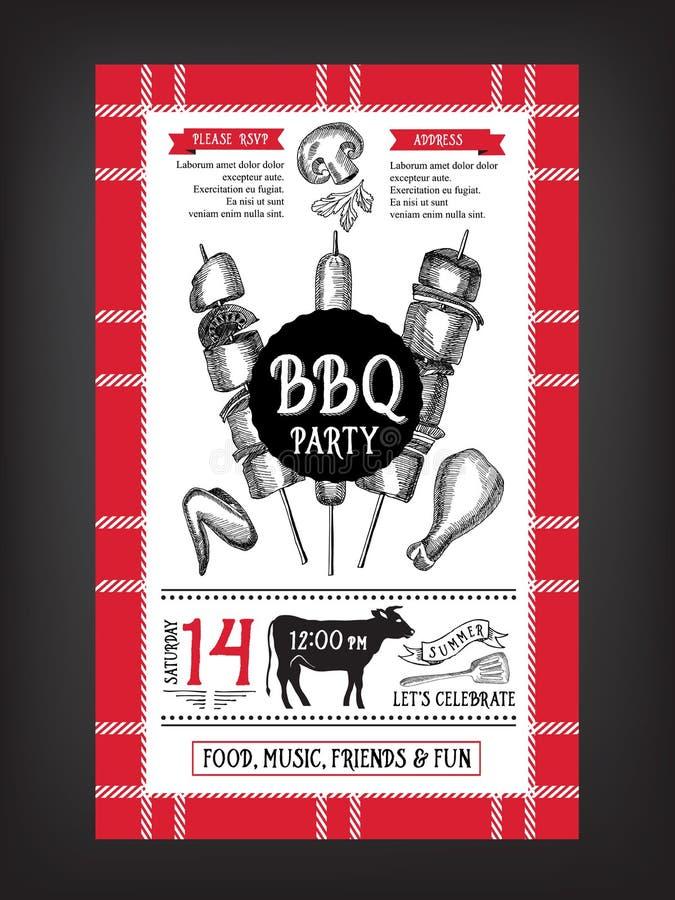 Grillfestpartiinbjudan Design för BBQ-mallmeny Matreklamblad royaltyfri illustrationer