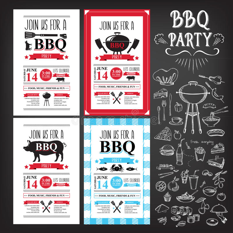 Grillfestpartiinbjudan Design för BBQ-mallmeny Matreklamblad stock illustrationer