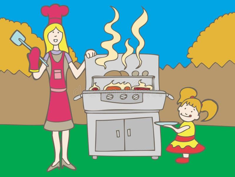 grillfestpicknick royaltyfri illustrationer