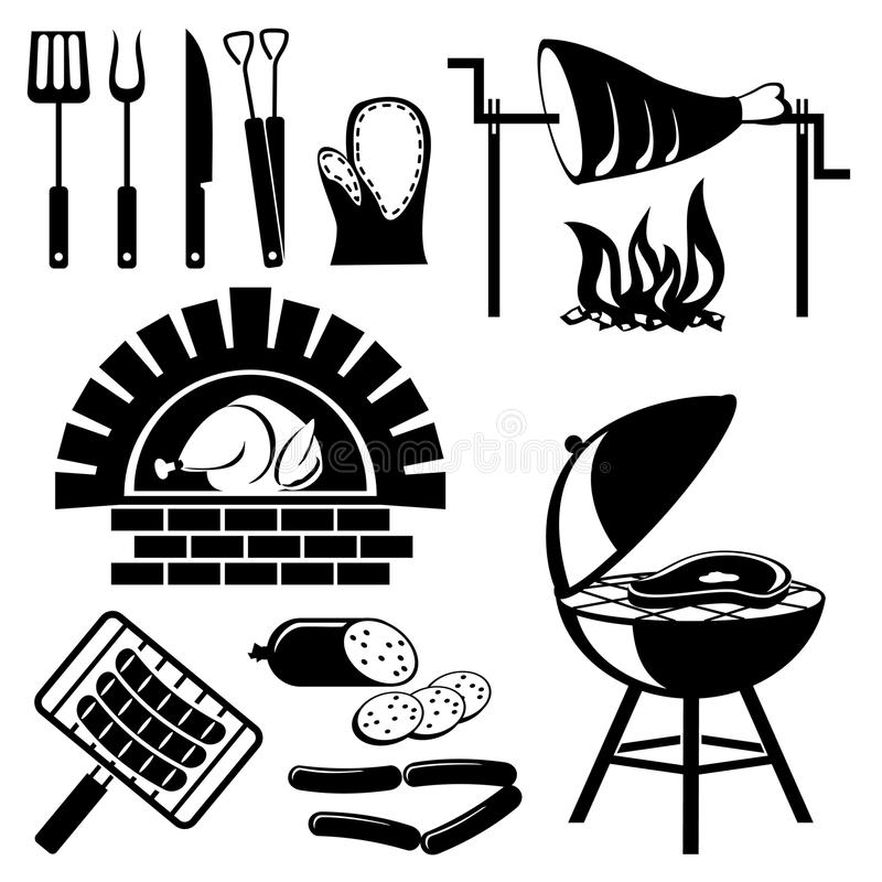 grillfestset stock illustrationer