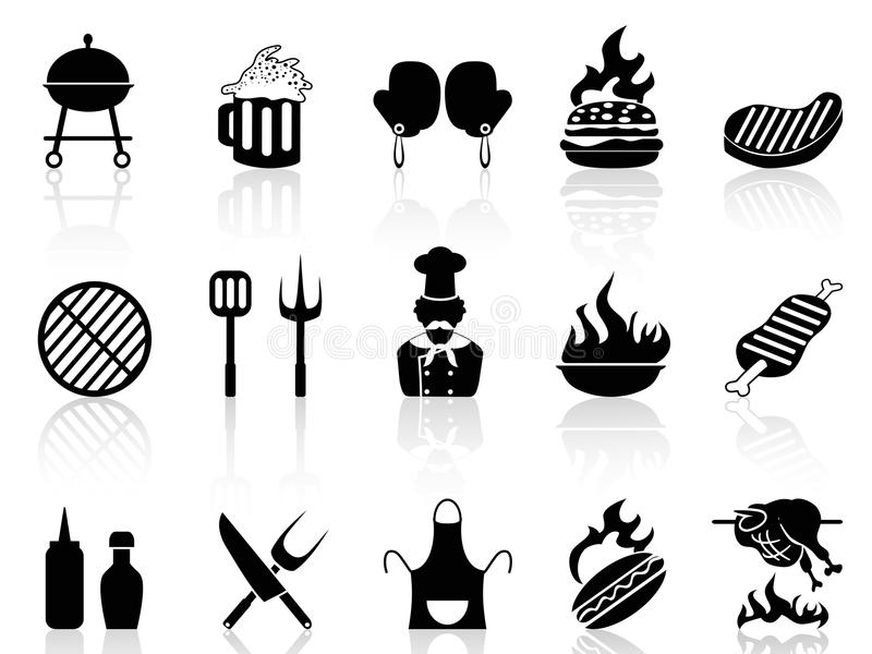 Grillfestsymboler royaltyfri illustrationer