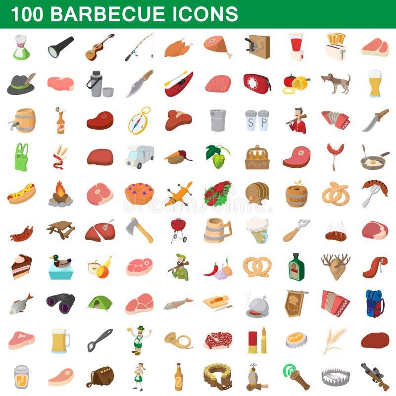 100 grillfestsymboler uppsättning, tecknad filmstil stock illustrationer