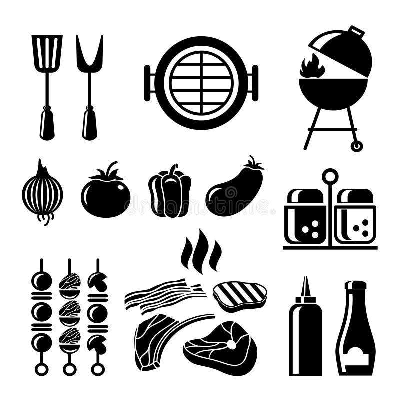Grillfestsymbolsuppsättning vektor illustrationer