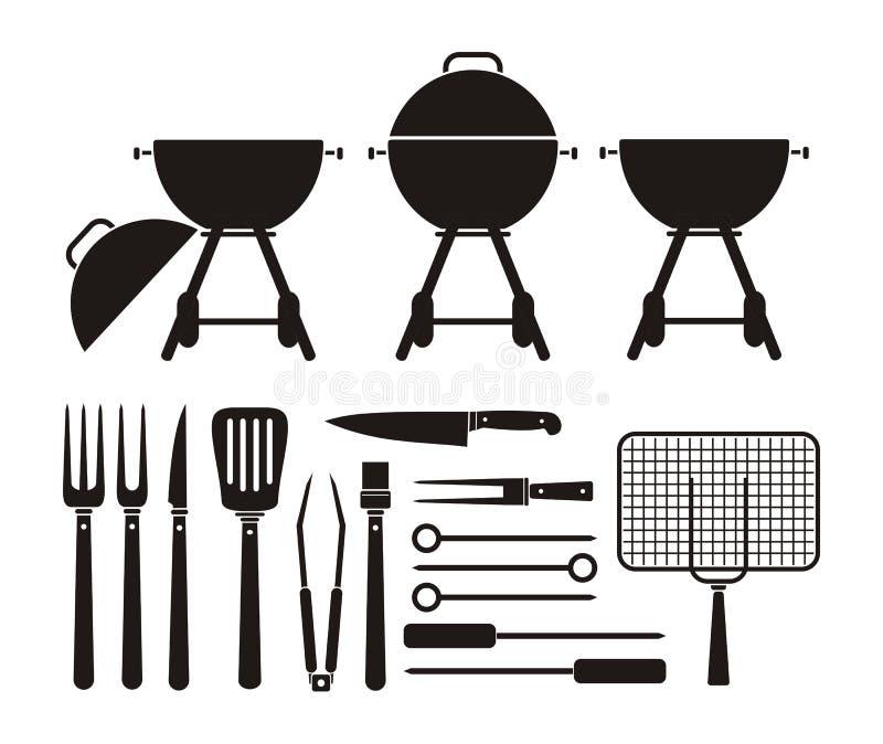 Grillfestutrustning - pictogram royaltyfri illustrationer
