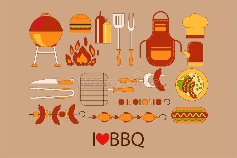 Grillgestaltungselemente Grill, Küchengeräte, Hamburger, Würstchen, Chefhut, Schutzblech, Handschuh, Flasche Ketschup und lizenzfreie abbildung