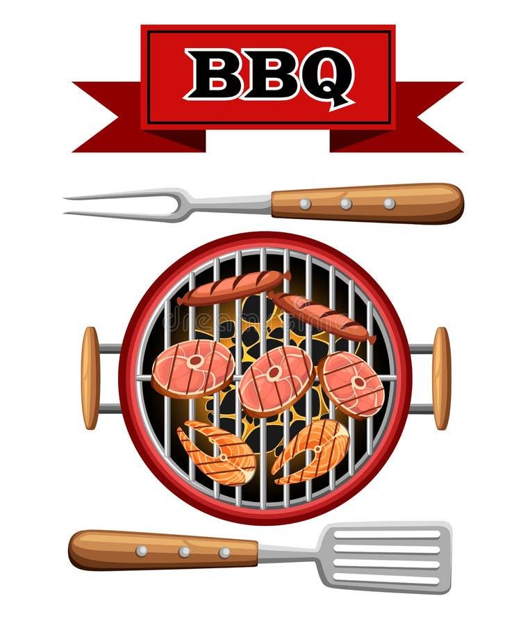 Grillgestaltungselemente grillen bbq-Picknick Kohlen der Draufsicht brennendes, das Gerät mit Fleischfischen kocht und Wurstillus stock abbildung