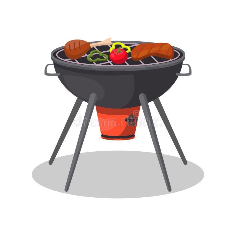 Grillgrill mit gegrilltem Fleisch und Gemüse lizenzfreie abbildung