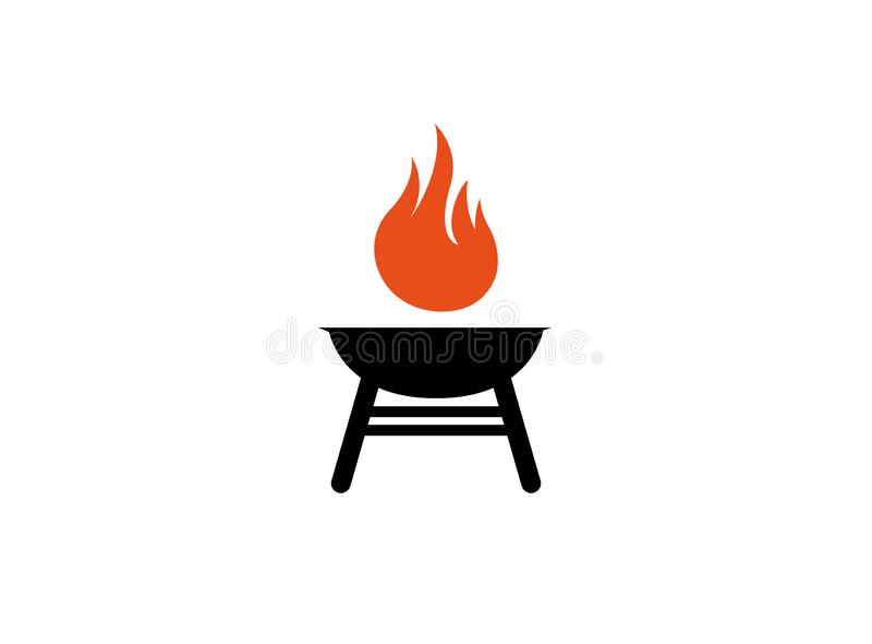 Grillgrills mit Feuer für Logo lizenzfreie abbildung