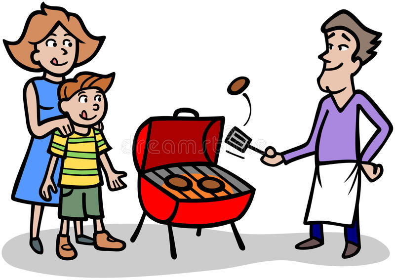 Grilling. Cartoon man cooking patties on a bbq grill for his family stock illustration