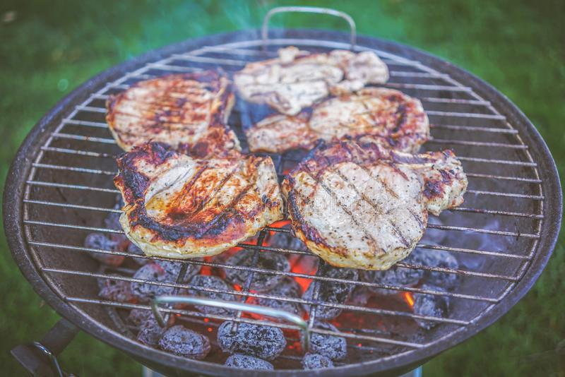 Grilling barbeque meet on the grill outdoors in the back yard. Summer time picnic. Roasting meat on metal grid on hot coals. Smoke stock image