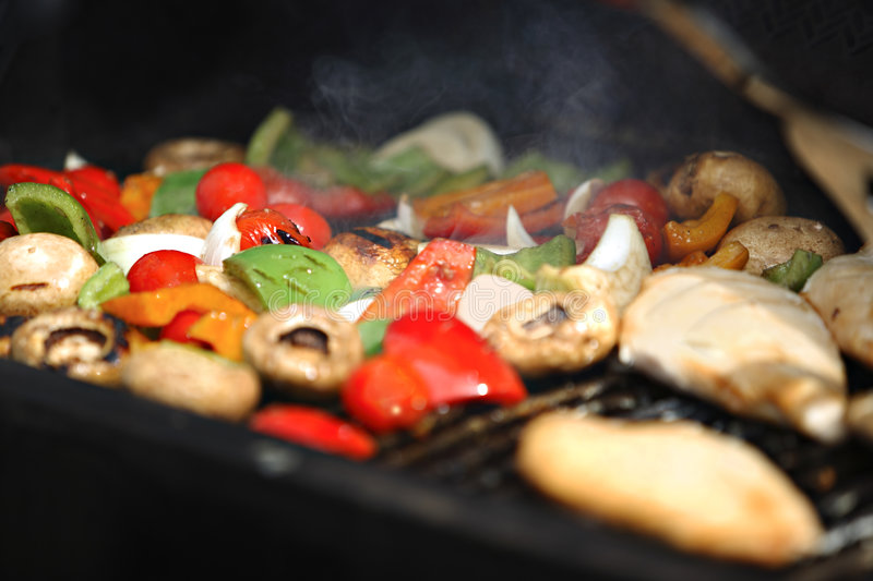 Grilling barbeque vegetables royalty free stock images