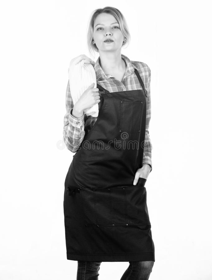 Grilling food. Cooking meat at low temperature for long time outdoors. Cooking meat in park. Barbecue master. Woman stock photography