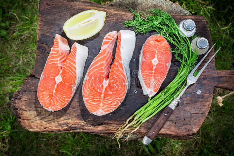 Grilling fresh salmon with dill and lemon. Closeup of Grilling fresh salmon with dill and lemon royalty free stock photography